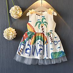 baratos Roupas de Meninas-Infantil Para Meninas Azul e Branco Estampado Sem Manga Vestido