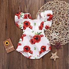 billige Babytøj-Baby Pige Aktiv / Sofistikerede Ferie Blomstret Drapering / Blondér / Trykt mønster Uden ærmer Bodysuit