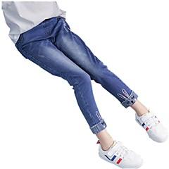 billige Bukser og leggings til piger-Børn Pige Aktiv Jacquard Vævning Broderi Bomuld Jeans