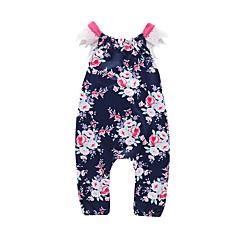 billige Bukser og leggings til piger-Baby Pige Aktiv Blomstret Bomuld Overall og jumpsuit