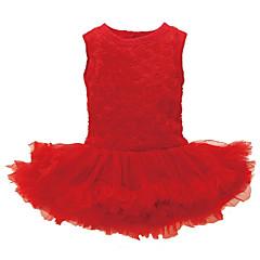 billige Babytøj-Baby Pige Sødt Ferie Ensfarvet Net / Patchwork Uden ærmer Over knæet Bomuld Kjole