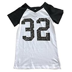 billige Pigetoppe-Børn Pige Basale Trykt mønster Trykt mønster Kortærmet Lang Bomuld T-shirt
