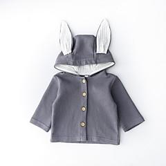 billige Overtøj til babyer-Baby Pige Aktiv Daglig Ensfarvet / Patchwork Patchwork Langærmet Kort Polyester Jakkesæt og blazer Blå