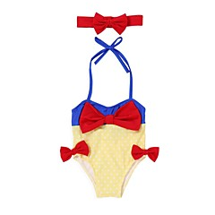 billige Badetøj til piger-Baby Pige Strand Ensfarvet Polyester / Spandex Badetøj Gul 100