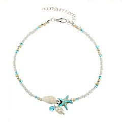 baratos Bijoux de Corps-Pérola Tornezeleira - Pérola, Imitação de Pérola Estrela do Mar, Concha Azul Claro Para Diário / Bikini / Mulheres