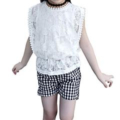 billige Tøjsæt til piger-Børn Pige Boheme Daglig Ensfarvet / Houndstooth mønster Blonder / Trykt mønster Kortærmet Normal Normal Polyester Tøjsæt Hvid