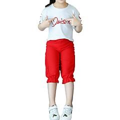 billige Tøjsæt til piger-Børn Pige Aktiv / Basale Sport / Skole Citron Trykt mønster Udskæring / Hul / Ribbet Kortærmet Bomuld Tøjsæt