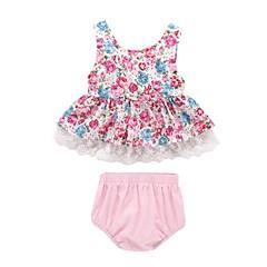billige Babytøj-Baby Pige Aktiv I-byen-tøj Trykt mønster Uden ærmer Lang Bomuld Tøjsæt
