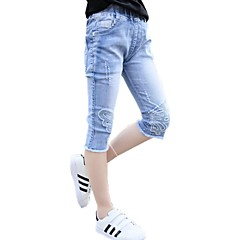 billige Bukser og leggings til piger-Børn Pige Aktiv Ensfarvet Broderi Bomuld Jeans