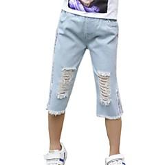 billige Jeans til piger-Børn Pige Aktiv Ensfarvet Hul / Ribbet Bomuld Jeans