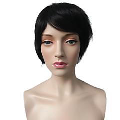 billiga Peruker och hårförlängning-Syntetiska peruker Rak Frisyr i lager Syntetiskt hår Värmetåligt / Klassisk / syntetisk Svart Peruk Dam Korta Utan lock Mellanbrun