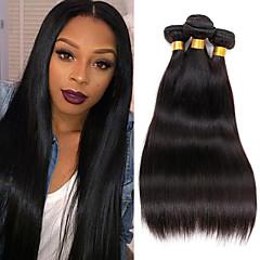 お買い得  人毛つけ毛-ブラジリアンヘア ストレート バージンヘア 人間の髪編む 4バンドル 8-26 インチ 人間の髪織り 8a 人間の髪の拡張機能