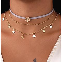 billige Halsbånd-Dame Flerlags Sol / Stjerne Kort halskæde  -  Metallic / Flerlags Geometrisk form Guld 47cm Halskæder Til Gave / Daglig