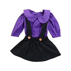 billige Sett med babyklær-Baby Pige Afslappet / Basale Skole Ensfarvet Drapering Langærmet Tøjsæt