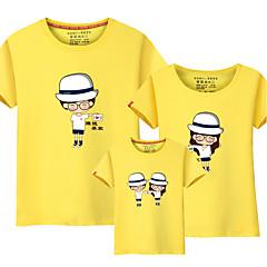 billige Sett med familieklær-3 deler Baby Familie Look Aktiv / Grunnleggende Strand Fargeblokk Trykt mønster Kortermet Bomull T-skjorte