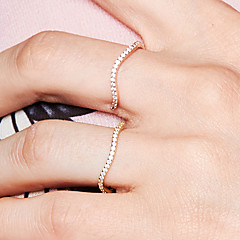 billige Motering-Dame Kubisk Zirkonium Åpne Ring Evigheten Ring - S925 Sterling Sølv Bølge Dainty, Grunnleggende, Søt 8 Rose Gull Til Daglig Ut på byen