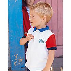 billige Overdele til drenge-Børn / Baby Drenge Aktiv / Basale Daglig / Sport Blå & Hvid / Sort & Rød Geometrisk Broderi Kortærmet Normal Bomuld T-shirt Hvid
