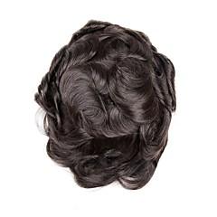 billiga Peruker och hårförlängning-Herr Äkta hår Tupéer Vågigt 100 % handbundet / Heta Försäljning / Ny ankomst