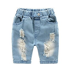 billige Drengebukser-Baby Drenge Basale Daglig / Ferie Ensfarvet Ribbet Bomuld / Polyester Jeans Lyseblå 100