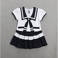 billige Babykjoler-Baby Pige Sødt Farveblok Kortærmet Polyester Kjole Blå
