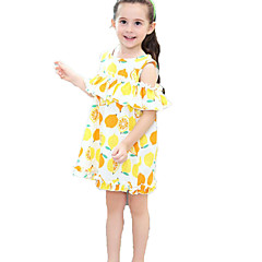 baratos Roupas de Meninas-Infantil Bébé Para Meninas Limão Fruta Manga Curta Vestido