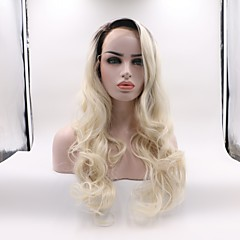 cheap Wigs & Hair Pieces-Synthetic Lace Front Wig Women's Wavy Black / Blonde Layered Haircut Synthetic Hair Curler & straightener Black / Blonde Wig Mid Length Lace Front Black / White Skyworth / Yes