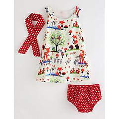 billige Tøjsæt til piger-Baby Pige Aktiv / Basale Blomstret Uden ærmer Bomuld Tøjsæt Regnbue 80