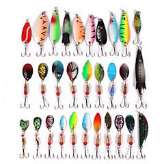 billiga Fiskbeten och flugor-30pcs st Lock förpackningar Metallbete / Lock förpackningar / Skedar Metallisk Sjöfiske / Kastfiske / Drag-fiske