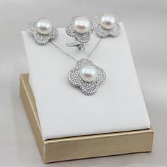 tanie Zestawy biżuterii-Damskie Perła / Perła słodkowodna Biżuteria Ustaw - Perłowy, S925 srebro, Perła słodkowodna Kwiat Luksusowy, Klasyczny, Elegancja Zawierać Bridal Jewelry Sets Silver Na Impreza / Prezent