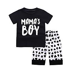 billige Tøjsæt til drenge-Baby Drenge Basale Sport Sort og hvid Geometrisk Trykt mønster Kortærmet Bomuld Tøjsæt