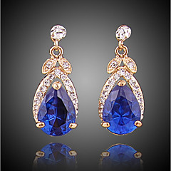 cheap -Women's Cubic Zirconia Stud Earrings / Hoop Earrings - Gold Plated Simple, Fashion Royal Blue For Going out / Office & Career