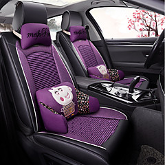 ODEER Car Seat Cushions Covers Black Purple Textile Artificial Leather Common For Universal All Years Models