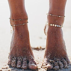 baratos Bijoux de Corps-Camadas Link cubano tornozeleira - Caído Simples, Coreano Dourado / Prata Para Presente Diário Rua Mulheres
