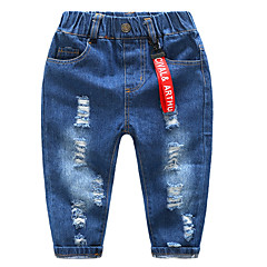baratos Roupas de Meninos-Infantil Para Meninos Sólido Jeans