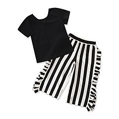 billige Sett med babyklær-Baby Pige Ensfarvet / Stribet Kortærmet Tøjsæt