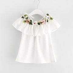 billige Babykjoler-Baby Pige Aktiv Blomstret Uden ærmer Bomuld Kjole Hvid 100