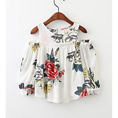 billige Pigetoppe-Børn Pige Ensfarvet Langærmet Bluse