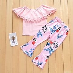 billige Sett med babyklær-Baby Pige Basale Ensfarvet / Blomstret Åben ryg / Drapering / Blondér Uden ærmer Bomuld Tøjsæt / Trykt mønster