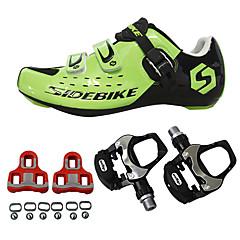 billige Sykkelsko-SIDEBIKE Voksne Sykkelsko med pedal og tåjern / Veisykkelsko Karbonfiber Demping Sykling Grønn Herre / ånd bare Blanding