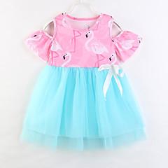 billige Babykjoler-Baby Pige Ensfarvet / Trykt mønster Halvlange ærmer Kjole