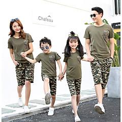billige Sett med familieklær-Familie Look Grunnleggende Daglig / Ut på byen Geometrisk Kortermet Polyester T-skjorte Militærgrønn Jenter 130