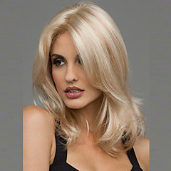 cheap Wigs & Hair Pieces-Synthetic Wig Women's Wavy Blonde Synthetic Hair Heat Resistant / Middle Part Blonde Wig Medium Length Blonde