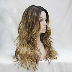 cheap Wigs & Hair Pieces-Synthetic Lace Front Wig Women's Wavy Middle Part Synthetic Hair Heat Resistant / Ombre Hair / Dark Roots Dark Brown Gold Blonde Ombre Wig Long Lace Front Black / Grey Black / Blonde Dark Brown