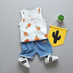 billige Sett med babyklær-Baby Unisex Sort & Rød Ensfarvet / Geometrisk Kortærmet Tøjsæt