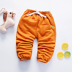 billige Babyunderdele-Baby Pige Aktiv Daglig Sort & Rød Ensfarvet / Geometrisk Flettet Langærmet Hør / Rayon / Akryl Bukser Orange