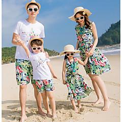 Χαμηλού Κόστους Σετ Ρούχων για την Οικογένεια-Οικογένεια Κοίτα Ενεργό Παραλία Φλοράλ Κοντομάνικο Πολυεστέρας Σετ Ρούχων Ουράνιο Τόξο
