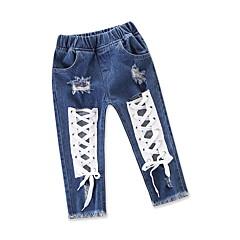 billige Babyunderdele-Baby Pige Gade / Punk & gotisk Ferie / I-byen-tøj Ensfarvet Udhulet Jeans