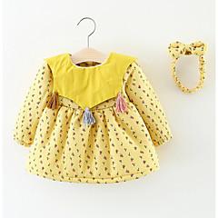 billige Babykjoler-Baby Pige Blomstret Langærmet Kjole