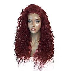 billiga Peruker och hårförlängning-Syntetiska snörning framifrån Lockigt Frisyr i lager Syntetiskt hår Med Babyhår / Värmetåligt / Elastisk Burgundy Peruk Dam Lång Spetsfront