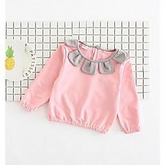 billige Babyoverdele-Baby Pige Gade Blomstret / Farveblok Langærmet Bomuld T-shirt